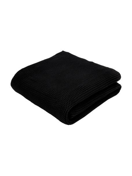 Plaid fatto a maglia in cotone biologico nero Adalyn, 100% cotone biologico, certificato GOTS, Nero, Larg. 150 x Lung. 200 cm