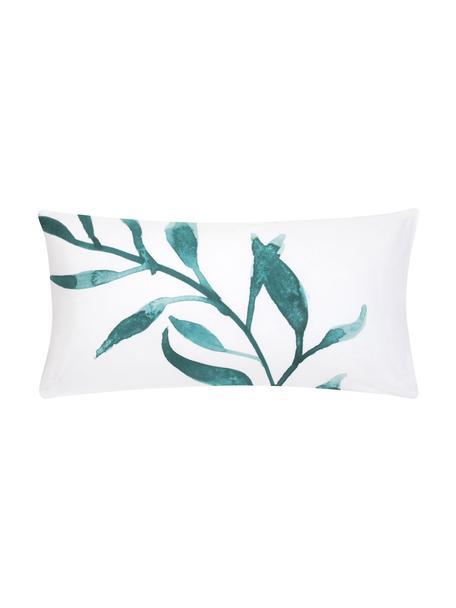 Dwustronna poszewka na poduszkę z perkalu Francine, 2 szt., Przód: zielony, biały Tył: biały, S 40 x D 80 cm