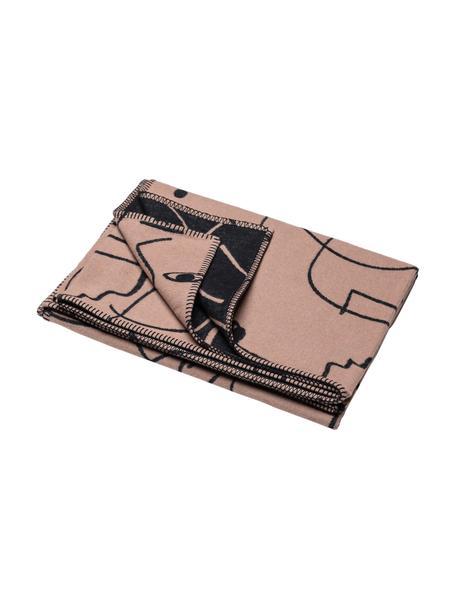 Katoenen plaid Faces met One-line tekening, 85% katoen, 15% polyacryl, Roze, zwart, 140 x 200 cm