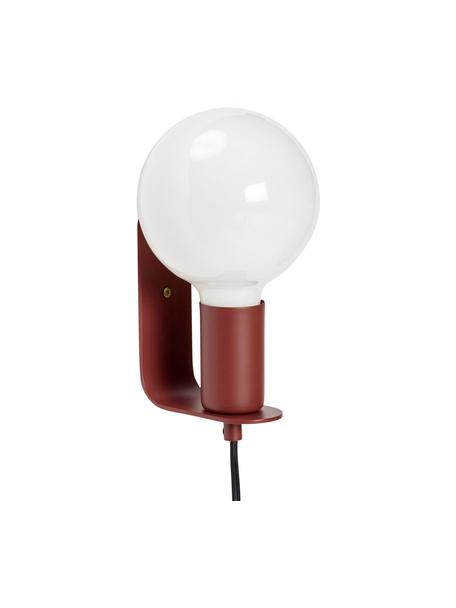 Kleine wandlamp Gelios met stekker, Peertje: glas, Rood, 5 x 15 cm