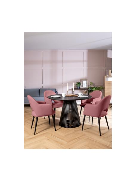 Sedia con braccioli in velluto rosa cipria Rachel, Rivestimento: velluto (poliestere) Il r, Gambe: metallo verniciato a polv, Velluto rosa cipria, Larg. 56 x Alt. 70 cm