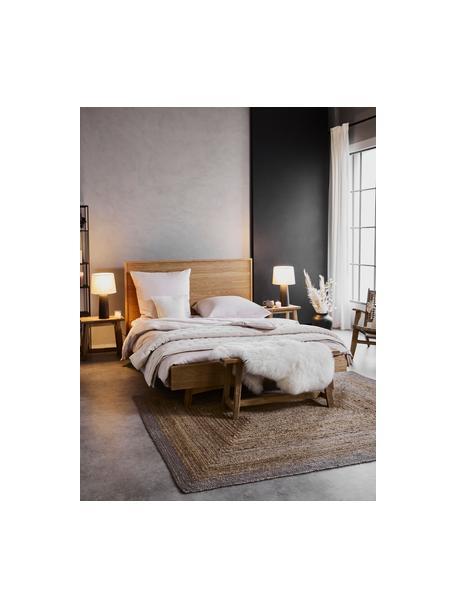 Letto in legno con testiera Tammy, Struttura: pannello di fibra a media, Piedini: legno di quercia massicci, Legno di quercia, 140 x 200 cm