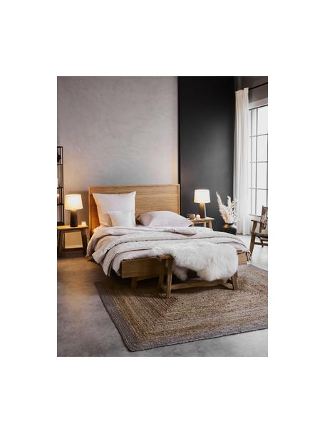 Łóżko z drewna z zagłówkiem Tammy, Stelaż: płyta pilśniowa średniej , Nogi: lite drewno dębowe, Drewno dębowe, S 140 x D 200 cm