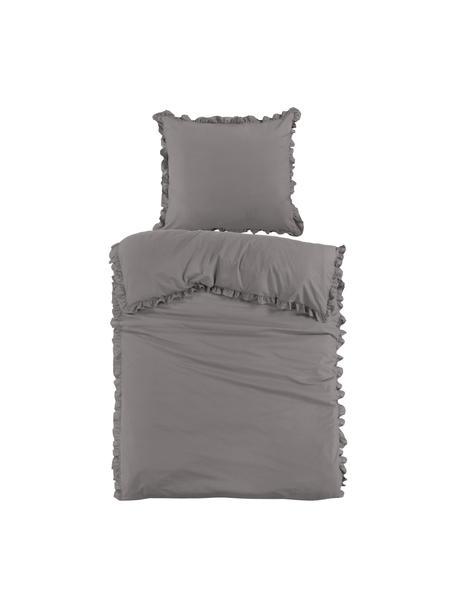 Baumwollperkal-Bettwäsche Deauville mit Rüschen in Grau, Webart: Perkal Fadendichte 200 TC, Grau, 135 x 200 cm + 1 Kissen 80 x 80 cm
