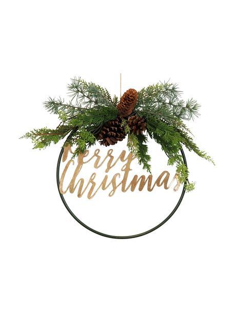 Corona navideña Merry Christmas, Metal, plástico, piñas, Verde, marrón, Ø 36 cm