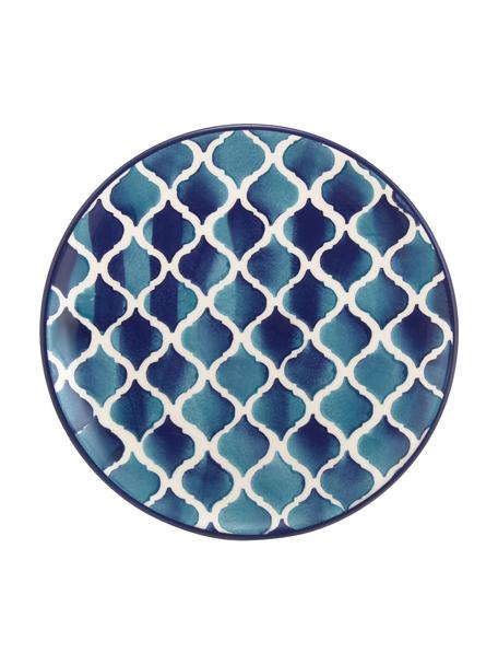 Handgemachte Frühstücksteller Ikat, 6 Stück, Keramik, Weiß, Blau, Ø 21 cm