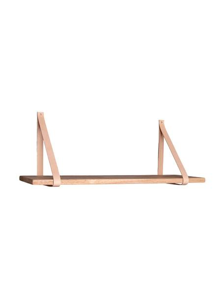 Holz-Wandregal Forno mit Lederriemen, Regalbrett: Gummiholz, Riemen: Leder, Gummiholz, Beige, 80 x 2 cm