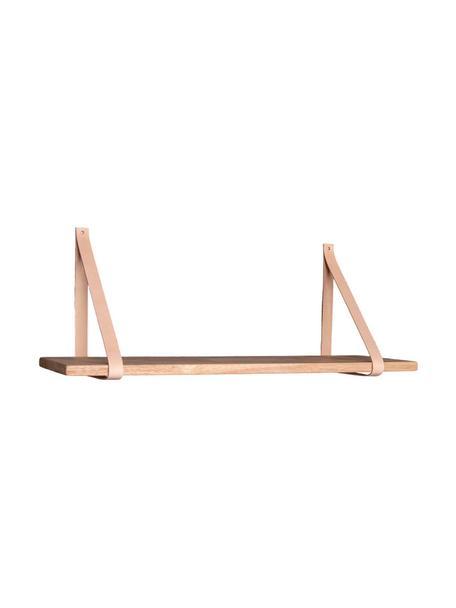 Houten wandplank Forno met leren riemen, Plank: rubberhout, Riemen: leer, Rubberhout, beige, 80 x 2 cm