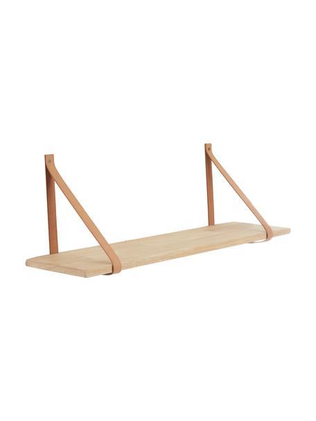 Wandplank Forno met leren riemen, naturel, Plank: rubberhout, naturel, Riemen: leer, Rubberhout, beige, B 80 x D 20 cm