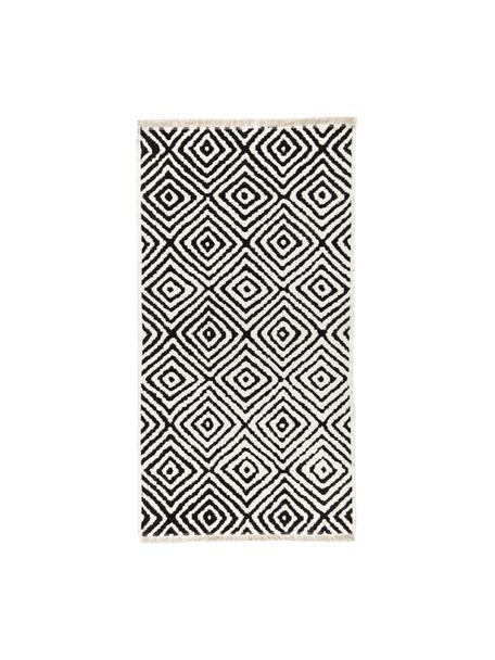 Kelim vloerkleed Mozaik in zwart/wit, 90% katoen, 10% polyester, Zwart, B 80 x L 150 cm (maat XS)