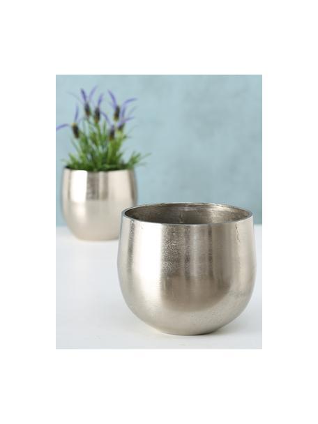 Set 2 portavasi in alluminio Flaire, Alluminio, Argentato, Set in varie misure
