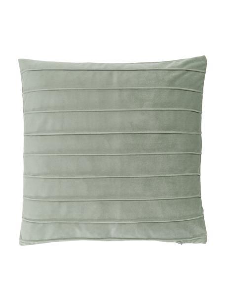 Samt-Kissenhülle Lola in Salbeigrün mit Struktumuster, Samt (100% Polyester), Grün, 40 x 40 cm
