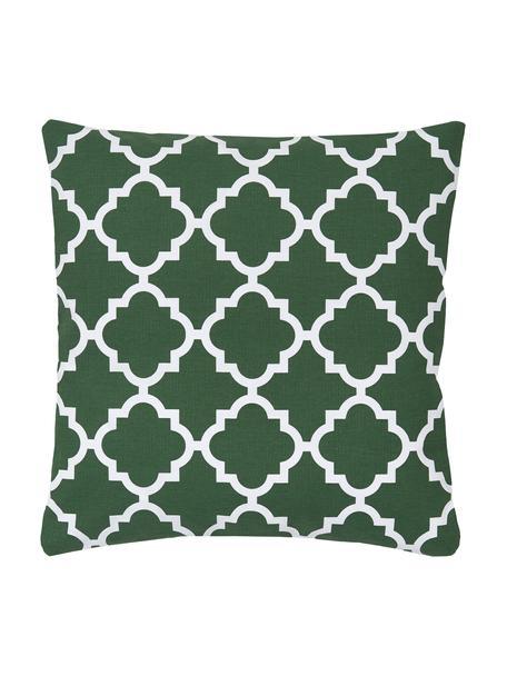 Funda de cojín Lana, 100% algodón, Verde oscuro, blanco, An 45 x L 45 cm
