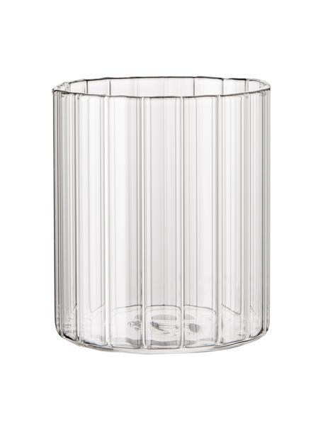 Wassergläser Romantic aus Borosilikatglas mit Rillenrelief, 6 Stück , Borosilikatglas, Transparent, Ø 8 x H 6 cm