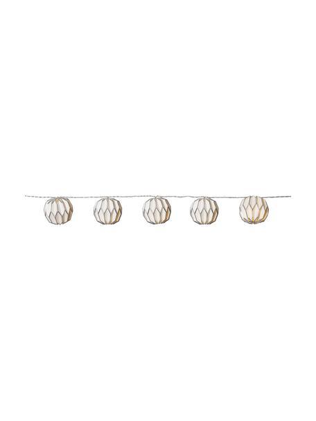 Ghirlanda a LED Origam, 275 cm, 10 lampioni, Lanterne: carta, Bianco, argentato, Lung. 275 cm