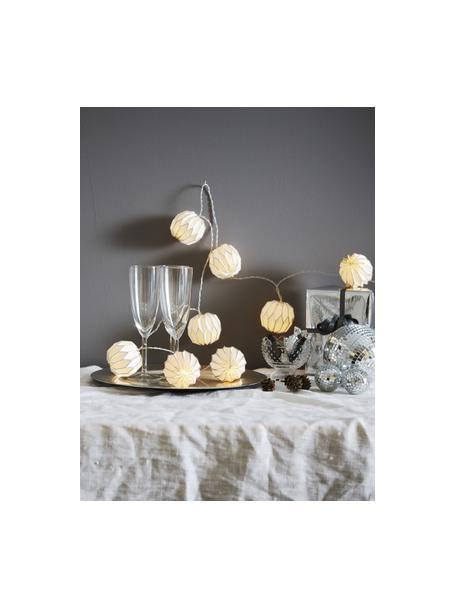 LED-Lichterkette Origami, 275 cm, 10 Lampions, Weiss, Silberfarben, L 275 cm