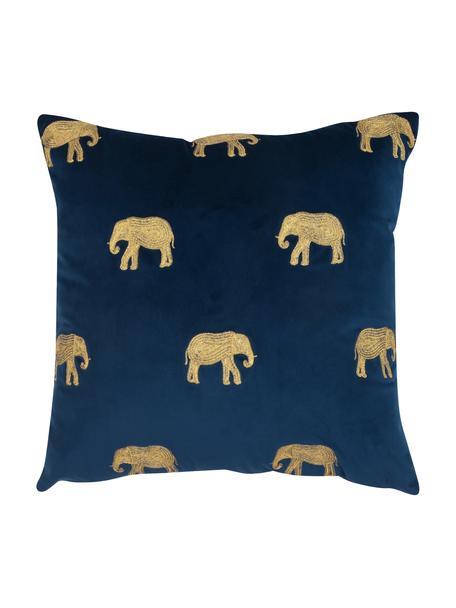 Haftowana poszewka na poduszkę z aksamitu Elefco, 100% aksamit poliestrowy, Ciemny niebieski, odcienie złotego, S 40 x D 40 cm