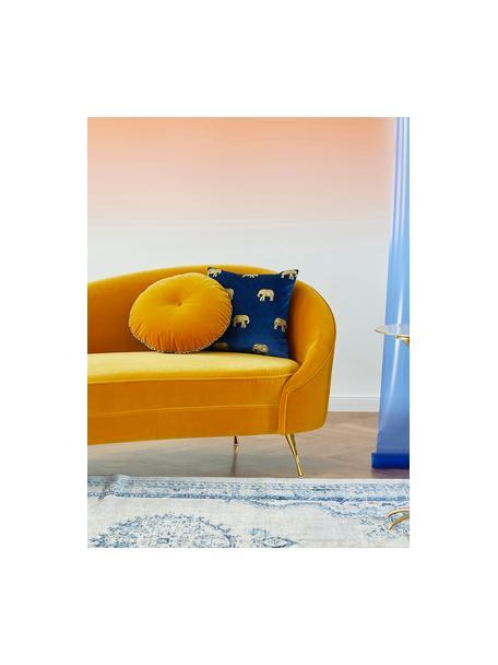 Geborduurde fluwelen kussenhoes Elefco in blauw/goudkleur, 100% polyester fluweel, Donkerblauw, goudkleurig, 40 x 40 cm