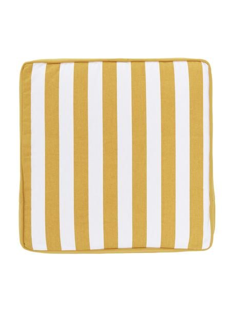 Cuscino sedia alto a righe giallo/bianco Timon, Rivestimento: 100% cotone, Giallo, Larg. 40 x Lung. 40 cm