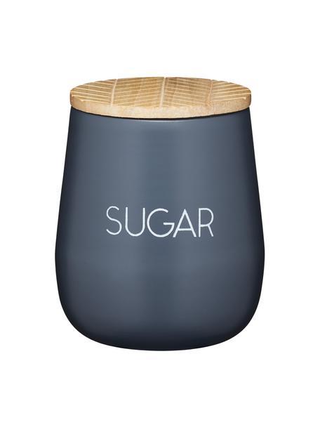 Aufbewahrungsdose Serenity Sugar, Ø 13 x H 15 cm, Dose: Stahl, beschichtet, Deckel: Mangoholz, Anthrazit, Holz, Ø 13 x H 15 cm