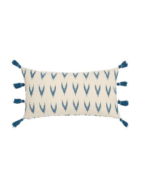 Boho kussenhoes Cala met blauwe kwastjes, 100% katoen, Blauw, wit, 30 x 60 cm