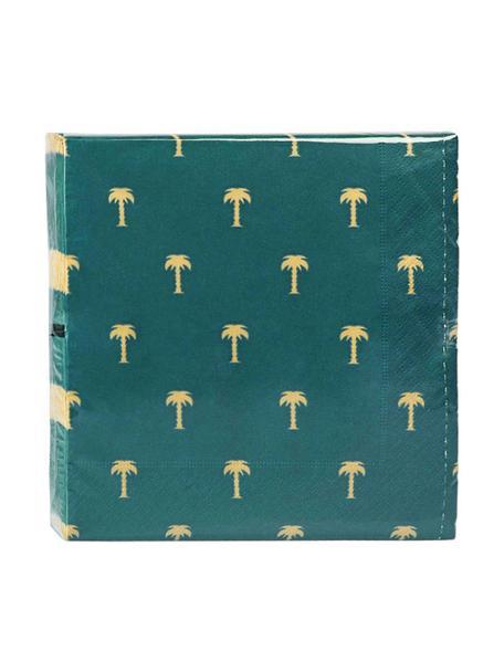 Papier-Servietten Palmtree, 20 Stück, Papier, Grün, Goldfarben, 17 x 17 cm