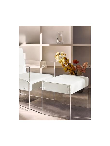 Fluwelen poef Ayden met frame van acrylglas, Bekleding: fluweel (polyester), Frame: massief populierenhout, m, Poten: acrylglas, Bekleding: beigeFrame: transparant, 61 x 45 cm