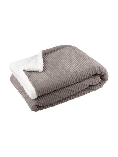Manta de peluche Ernest, 100%poliéster, Gris pardo, blanco, An 130 x L 150 cm