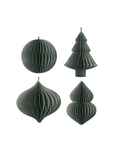 Adornos navideños Viola, 4uds., Adornos: papel, Verde oscuro, Ø 9 x Al 10 cm