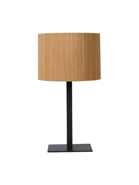 Große Tischlampe Magius aus Rattan, Lampenschirm: Rattan, Baldachin: Metall, beschichtet, Braun, Schwarz, Ø 28 x H 52 cm