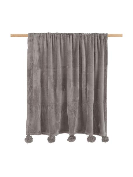 Zachte plaid Bomla in taupe met pompoms, Polyester, Taupe, 130 x 170 cm