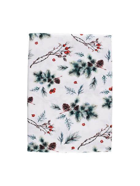 Mantel Aubepine, 100%algodón, Blanco, verde, rojo, An 160 x L 160 cm