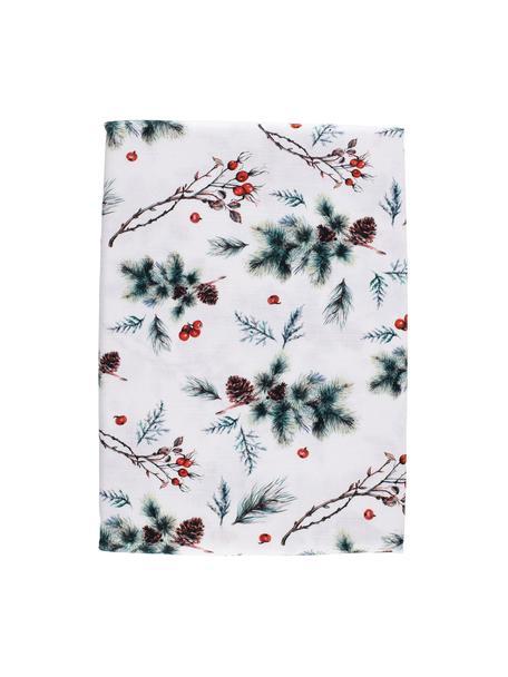 Tischdecke Aubepine, 100% Baumwolle, Weiß, Grün, Rot, 160 x 160 cm