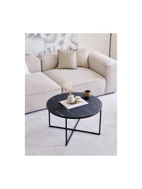 Mesa de centro Antigua, tablero de cristal en aspecto mármol, Tablero: vidrio estampado con aspe, Estructura: acero con pintura en polv, Mármol negro grisaceo, negro, Ø 80 x Al 45 cm