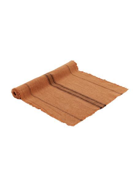 Bieżnik z bawełny Ripo, 100% bawełna, Terakota, czarny, S 40 x D 140 cm