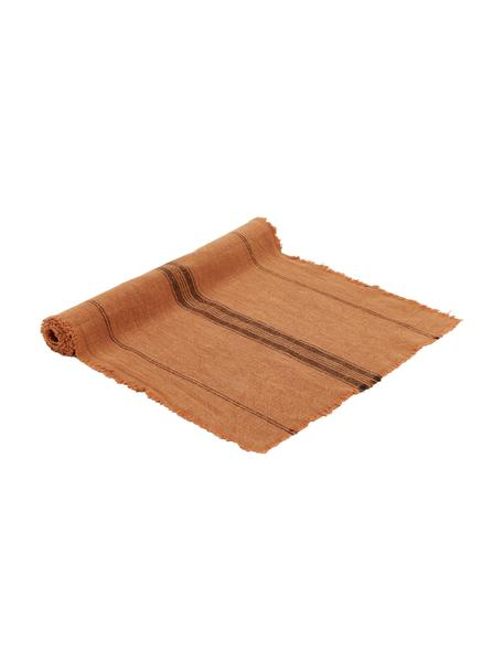 Runner in cotone color terracotta Ripo, 100% cotone, Rosso mattone, nero, Larg. 40 x Lung. 140 cm