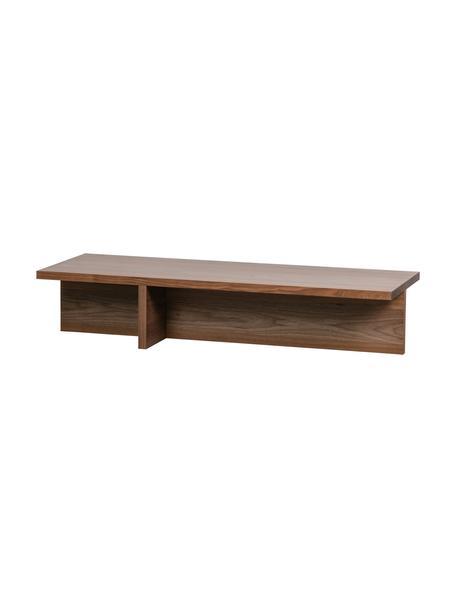 Mesa de centro en nogal Angle, estilo moderno, Tablero de fibras de densidad media(MDF) con chapado en madera de nogal, Marrón, An 135 x Al 27 cm