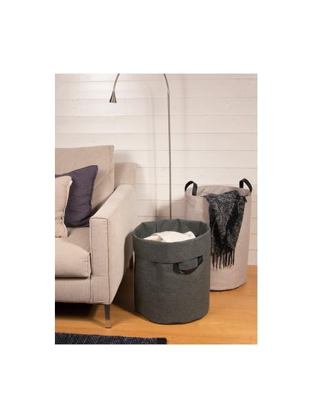 Cesta de lavandería Floor, Asa: cuero, Cesta: gris Asa: negro, Ø 40 x Al 55 cm