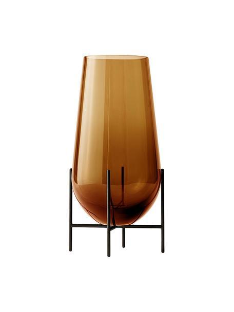 Große Design-Vase Échasse, Vase: Glas, mundgeblasen, Gestell: Messing, Braun, Bronze, Ø 22 x H 44 cm