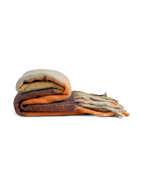 Wolldecke Check mit Fransen in Braun/Orange, 50% Wolle, 50% Acryl, Orange, Braun, 125 x 150 cm