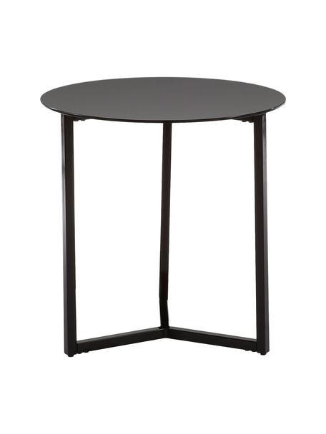 Bijzettafel Raeam met zwarte glasplaat, Tafelblad: veiligheidsglas, getint, Frame: gelakt metaal, Zwart, Ø 50 x H 50 cm