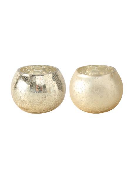 Komplet świeczników Grusha, 2 elem., Szkło lakierowane, Szampański, matowy i błyszczący, Ø 7 x W 6 cm