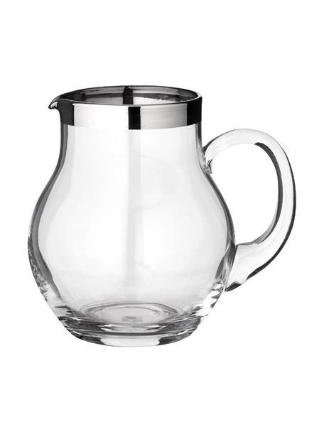 Krug Olivia mit Platinrand, 1 L, Kristallglas , Platinrand, Transparent, H 16 cm