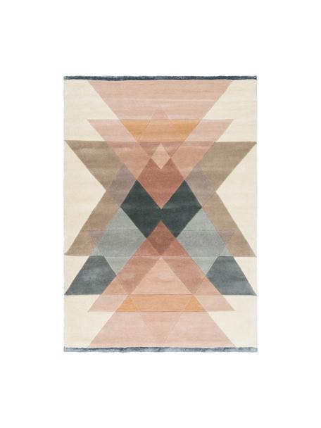 Tappeto di design in lana taftato a mano Freya, Retro: 100% cotone Nel caso dei , Tonalità beige, rosa, blu grigio, Larg. 140 x Lung. 200 cm (taglia S)