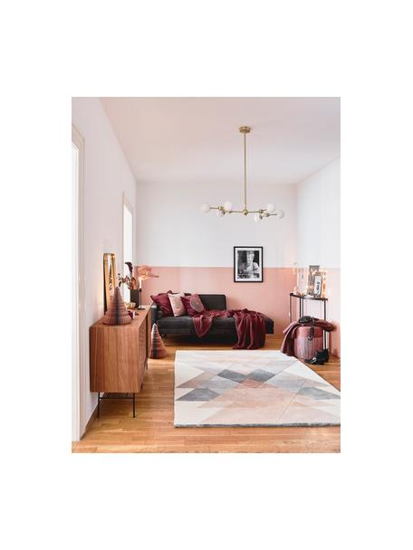 Alfombra artesanal de lana de diseño Freya, Parte superior: 95%lana, 5%viscosa, Reverso: 100%algodón Las alfombra, Tonos beige, rosa, gris azulado, An 140 x L 200 cm (Tamaño S)