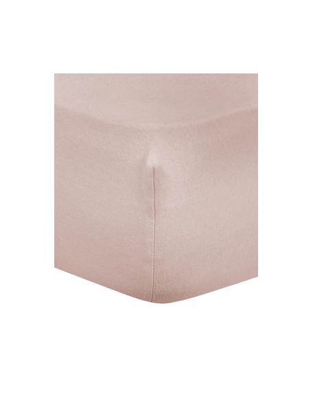 Prześcieradło z gumką z flaneli Biba, Blady różowy, S 90 x D 200 cm