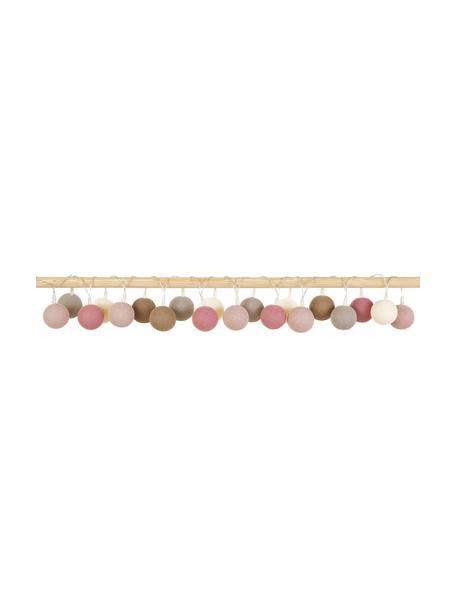 LED lichtslinger Colorain, 378 cm, 20 lampions, Lampions: polyester, Bruin, roze, crèmewit, grijs, L 378 cm