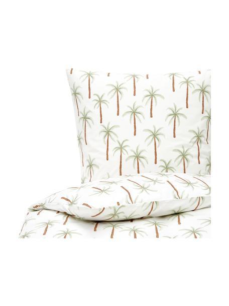 Pościel z perkalu z bawełny organicznej Martha, Biały, zielony, brązowy, 135 x 200 cm + 1 poduszka 80 x 80 cm
