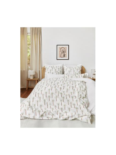 Perkal-Bettwäsche Martha aus Bio-Baumwolle mit Palmen-Print, Webart: Perkal Fadendichte 180 TC, Weiß, Grün, Braun, 135 x 200 cm + 1 Kissen 80 x 80 cm