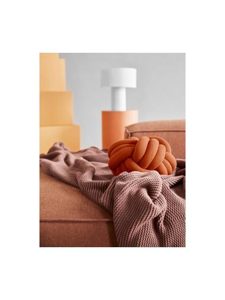 Geknoopt kussen Twist in terracotta, Terracottakleurig, Ø 30 cm